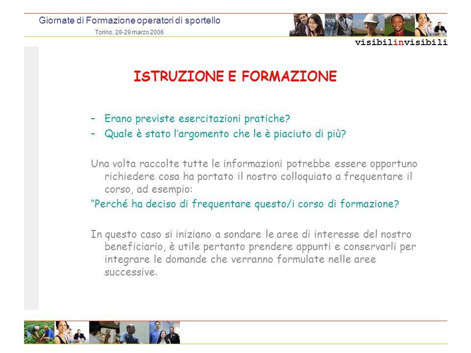 visibilinvisibili Giornate di Formazione operatori di sportello Torino, 28-29 marzo 2006 ISTRUZIONE E FORMAZIONE –Erano previste esercitazioni pratiche.