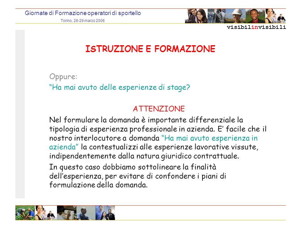 visibilinvisibili Giornate di Formazione operatori di sportello Torino, 28-29 marzo 2006 ISTRUZIONE E FORMAZIONE Oppure: Ha mai avuto delle esperienze di stage.