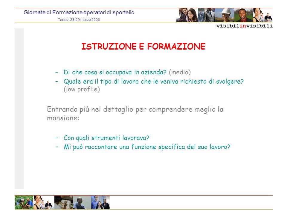 visibilinvisibili Giornate di Formazione operatori di sportello Torino, 28-29 marzo 2006 ISTRUZIONE E FORMAZIONE –Di che cosa si occupava in azienda.