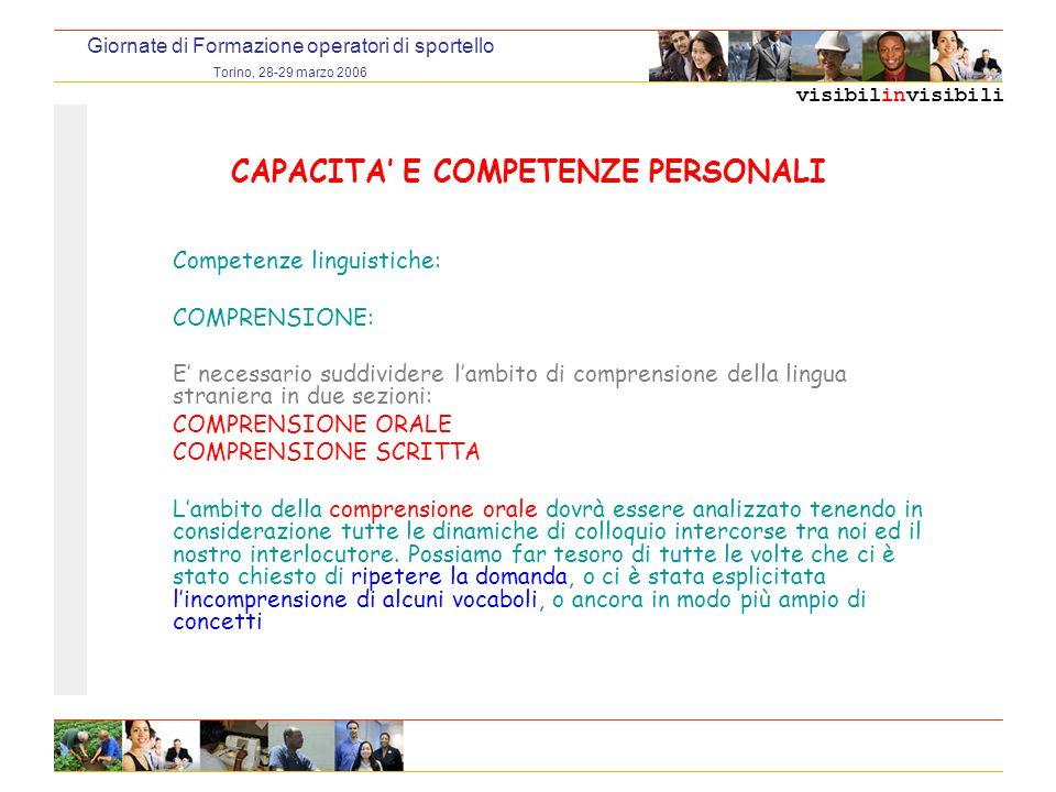 visibilinvisibili Giornate di Formazione operatori di sportello Torino, 28-29 marzo 2006 CAPACITA E COMPETENZE PERSONALI Competenze linguistiche: COMPRENSIONE: E necessario suddividere lambito di comprensione della lingua straniera in due sezioni: COMPRENSIONE ORALE COMPRENSIONE SCRITTA Lambito della comprensione orale dovrà essere analizzato tenendo in considerazione tutte le dinamiche di colloquio intercorse tra noi ed il nostro interlocutore.