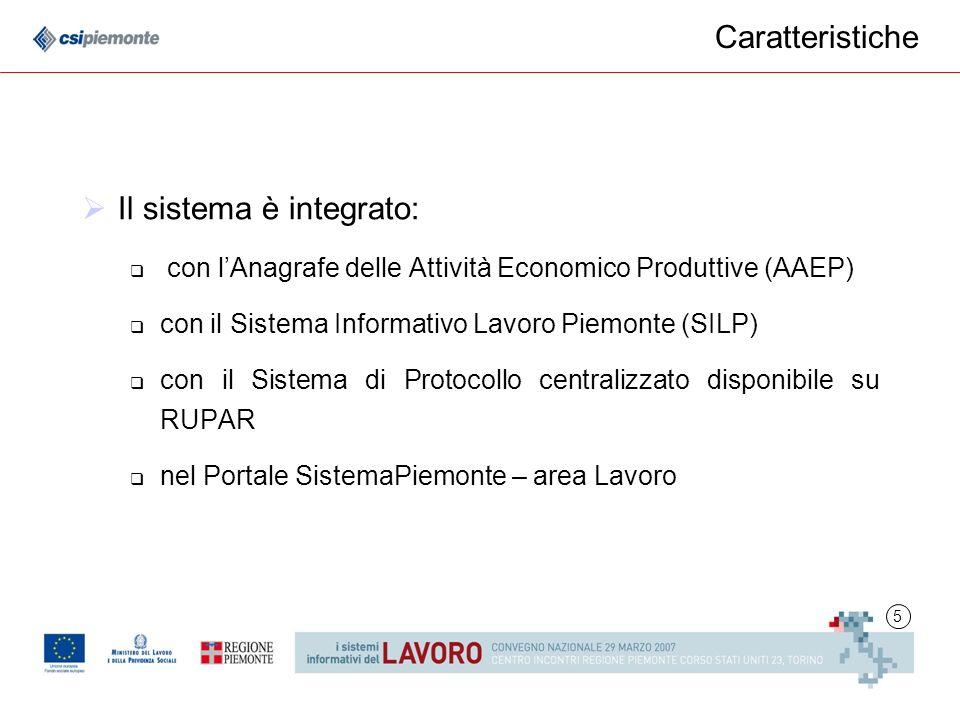 5 Caratteristiche Il sistema è integrato: con lAnagrafe delle Attività Economico Produttive (AAEP) con il Sistema Informativo Lavoro Piemonte (SILP) con il Sistema di Protocollo centralizzato disponibile su RUPAR nel Portale SistemaPiemonte – area Lavoro