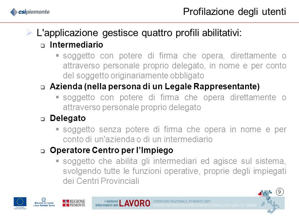 10 Statistiche Lapplicativo è in uso da Settembre 2004 presso la Provincia di Torino Dal 2 ottobre 2006 è obbligatorio, per le aziende della Provincia di Torino, inviare le comunicazioni tramite lapplicativo: Comunicazioni inviate dal 02/10 al 26/03/2007: circa 411.000 Media giornaliera (lun-ven): circa 3.400 Intermediari: circa 3.500 Delegati di Impresa: circa 730 Utilizzatori Invio Massivo: circa 200 (dati aggiornati al 26 marzo 2007)