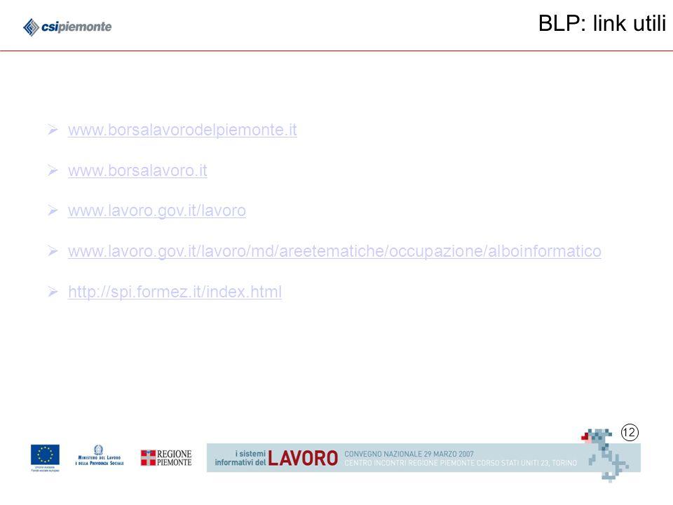 12 BLP: link utili www.borsalavorodelpiemonte.it www.borsalavoro.it www.lavoro.gov.it/lavoro www.lavoro.gov.it/lavoro/md/areetematiche/occupazione/alboinformatico http://spi.formez.it/index.html