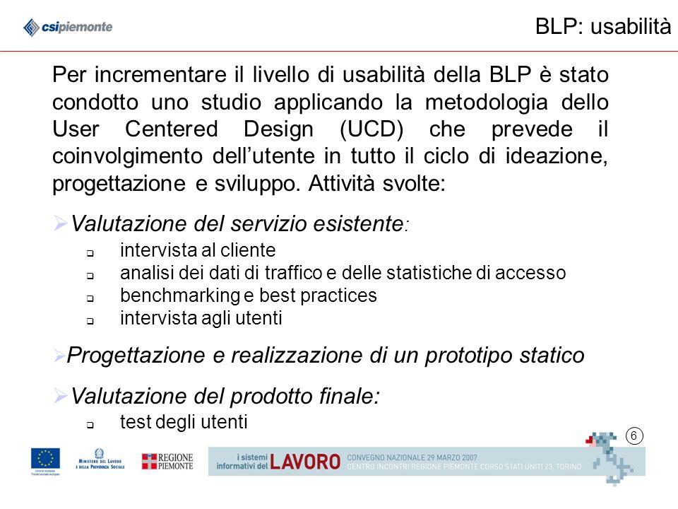 6 BLP: usabilità Per incrementare il livello di usabilità della BLP è stato condotto uno studio applicando la metodologia dello User Centered Design (UCD) che prevede il coinvolgimento dellutente in tutto il ciclo di ideazione, progettazione e sviluppo.
