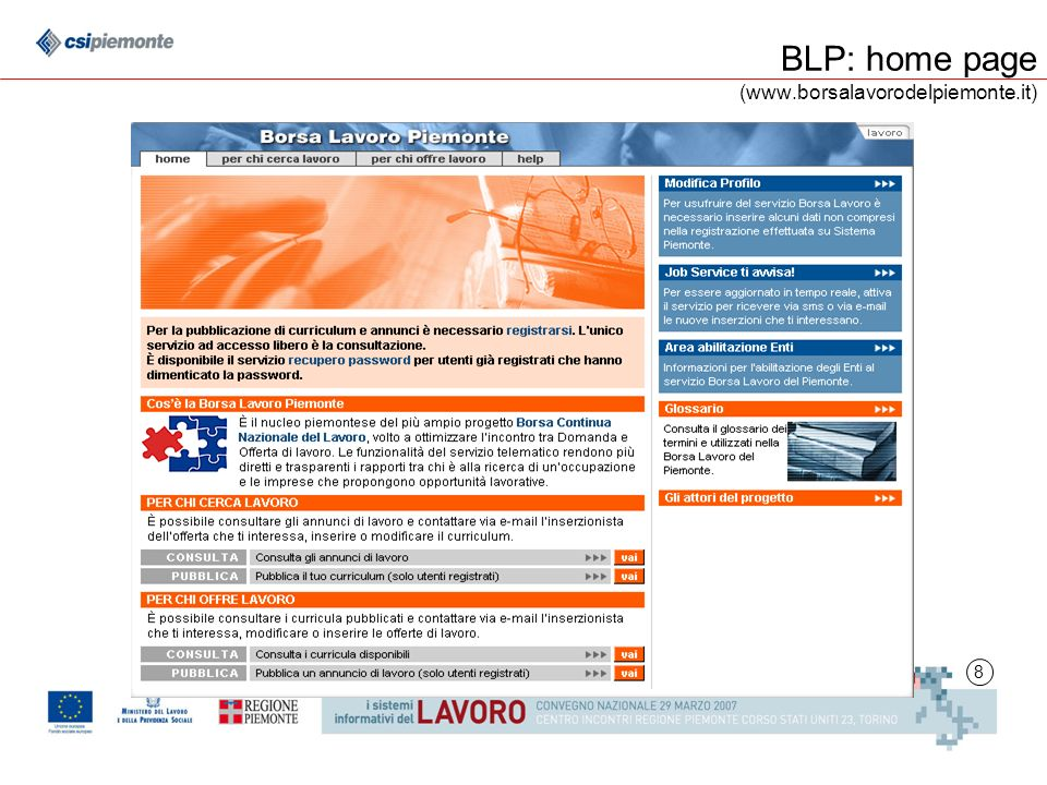 8 BLP: home page (