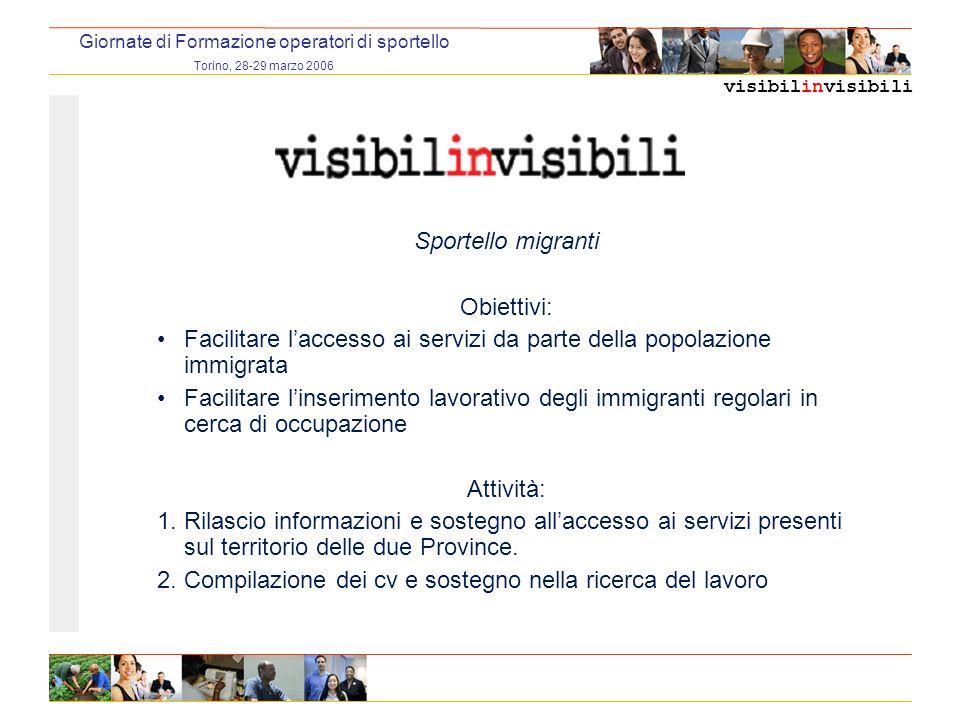 visibilinvisibili Giornate di Formazione operatori di sportello Torino, 28-29 marzo 2006 Sportello migranti Obiettivi: Facilitare laccesso ai servizi