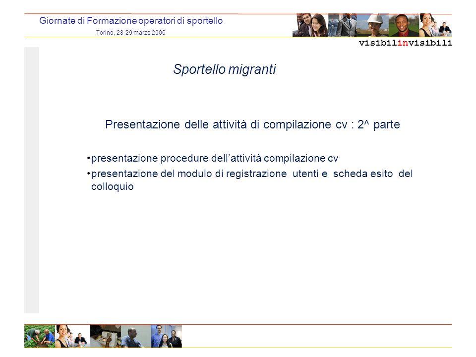 visibilinvisibili Giornate di Formazione operatori di sportello Torino, 28-29 marzo 2006 Sportello migranti Presentazione delle attività di compilazio