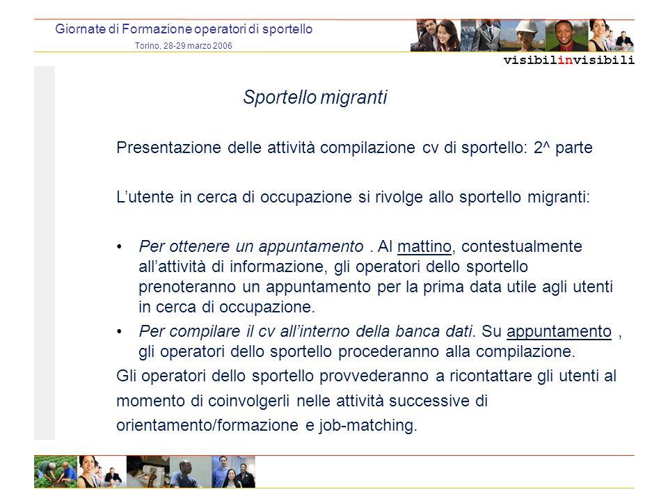 visibilinvisibili Giornate di Formazione operatori di sportello Torino, 28-29 marzo 2006 Sportello migranti Presentazione delle attività compilazione