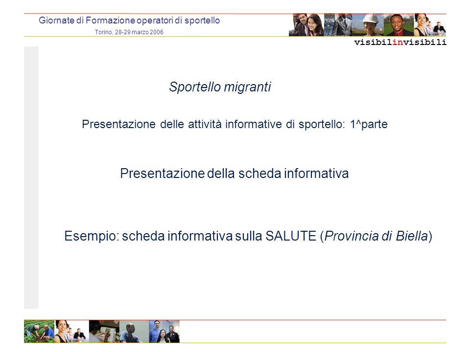 visibilinvisibili Giornate di Formazione operatori di sportello Torino, 28-29 marzo 2006 Sportello migranti Presentazione delle attività compilazione cv di sportello: 2^ parte Presentazione del modulo di registrazione delle prenotazioni appuntamenti in uso presso i C.P.I.