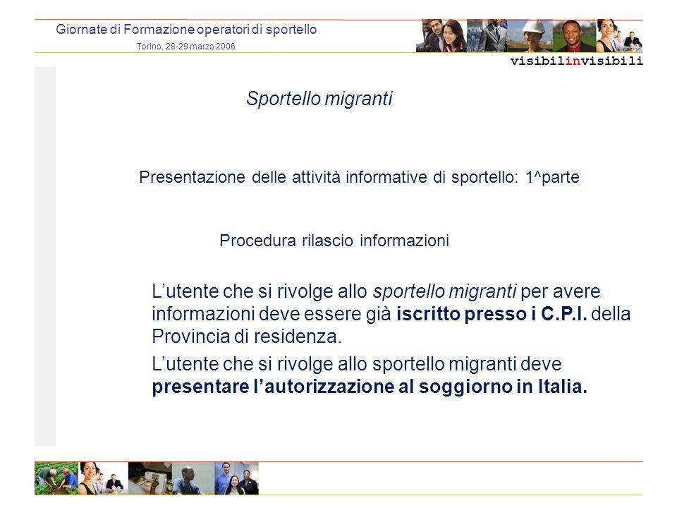 visibilinvisibili Giornate di Formazione operatori di sportello Torino, 28-29 marzo 2006 Sportello migranti Caso A Servizio mappato (è possibile contattare un referente operativo dellente/organizzazione fornitore del servizio) Utente autosufficiente: 2.