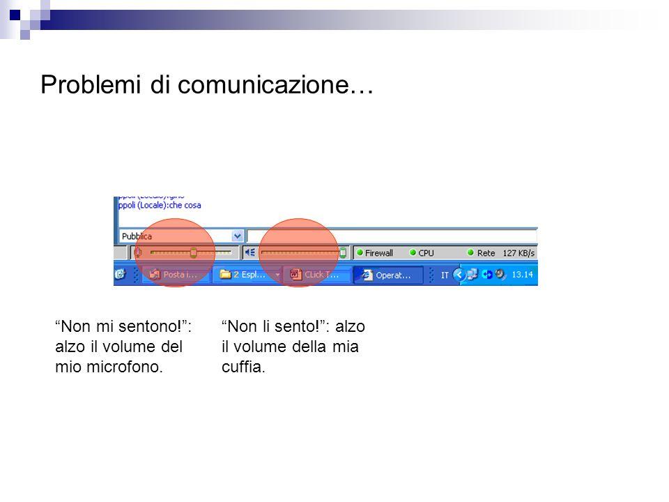 Problemi di comunicazione… Non mi sentono!: alzo il volume del mio microfono.