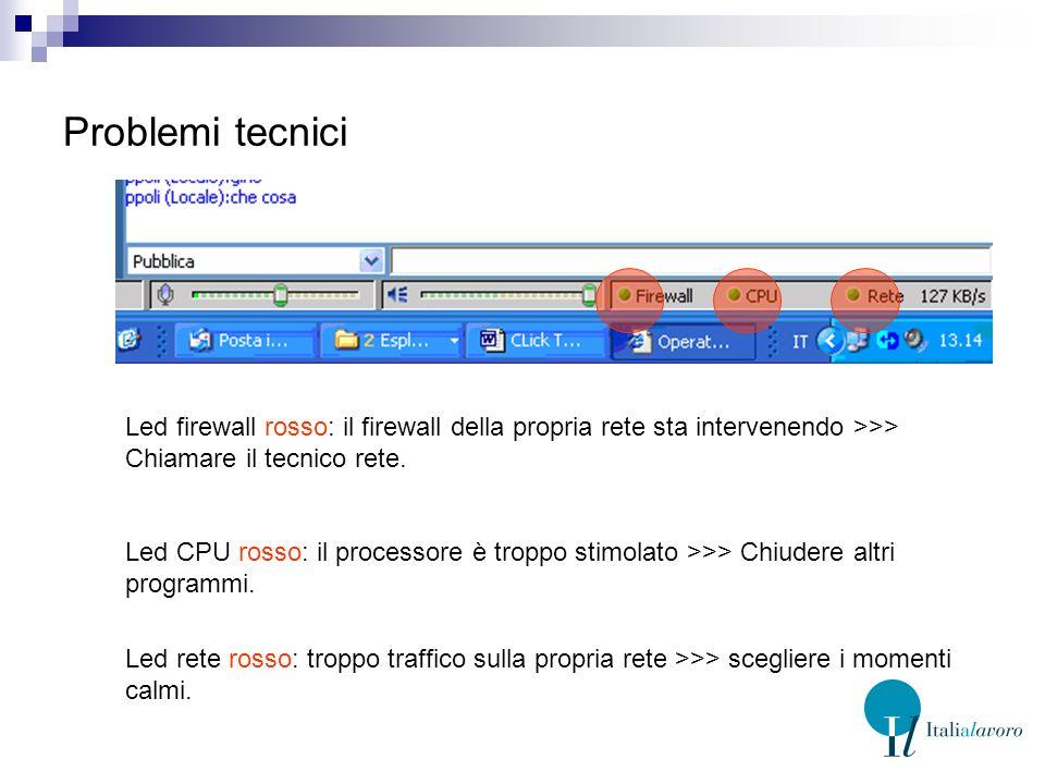 Problemi tecnici Led firewall rosso: il firewall della propria rete sta intervenendo >>> Chiamare il tecnico rete.