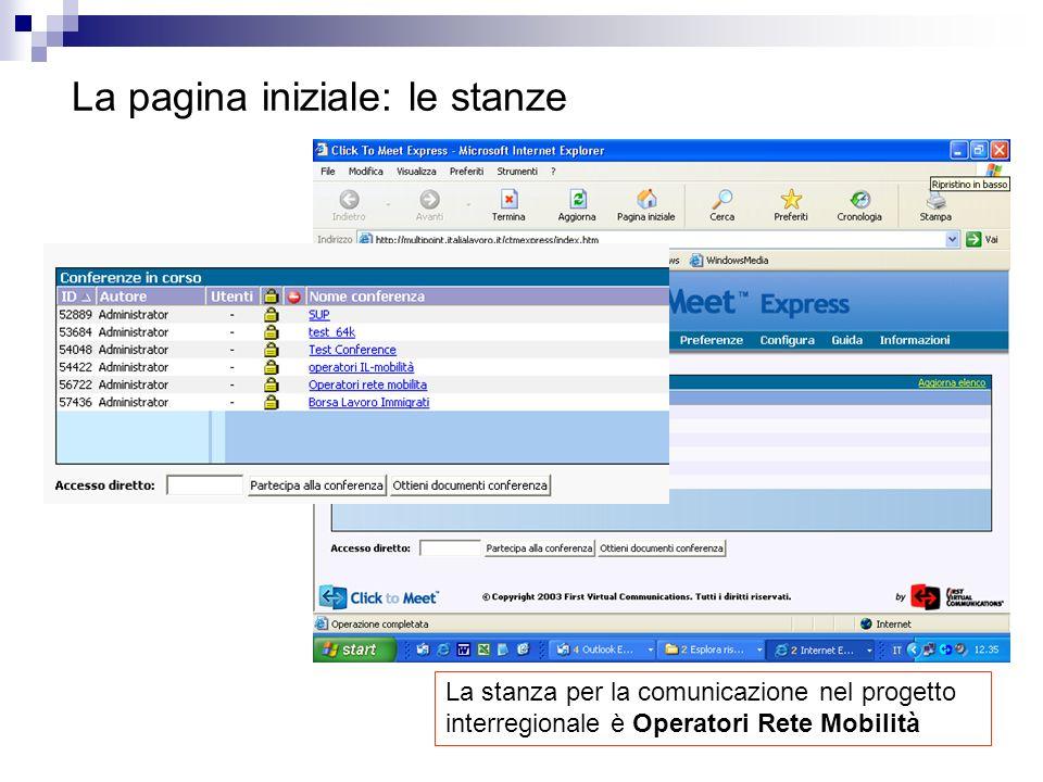 La pagina iniziale: le stanze Le videoconferenze avvengono il STANZE dove gli utenti si incontrano La stanza per la comunicazione nel progetto interregionale è Operatori Rete Mobilità