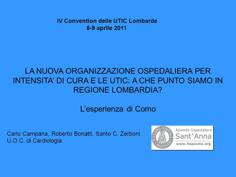 IV Convention delle UTIC Lombarde 8-9 aprile 2011 LA NUOVA ORGANIZZAZIONE OSPEDALIERA PER INTENSITA DI CURA E LE UTIC: A CHE PUNTO SIAMO IN REGIONE LOMBARDIA.