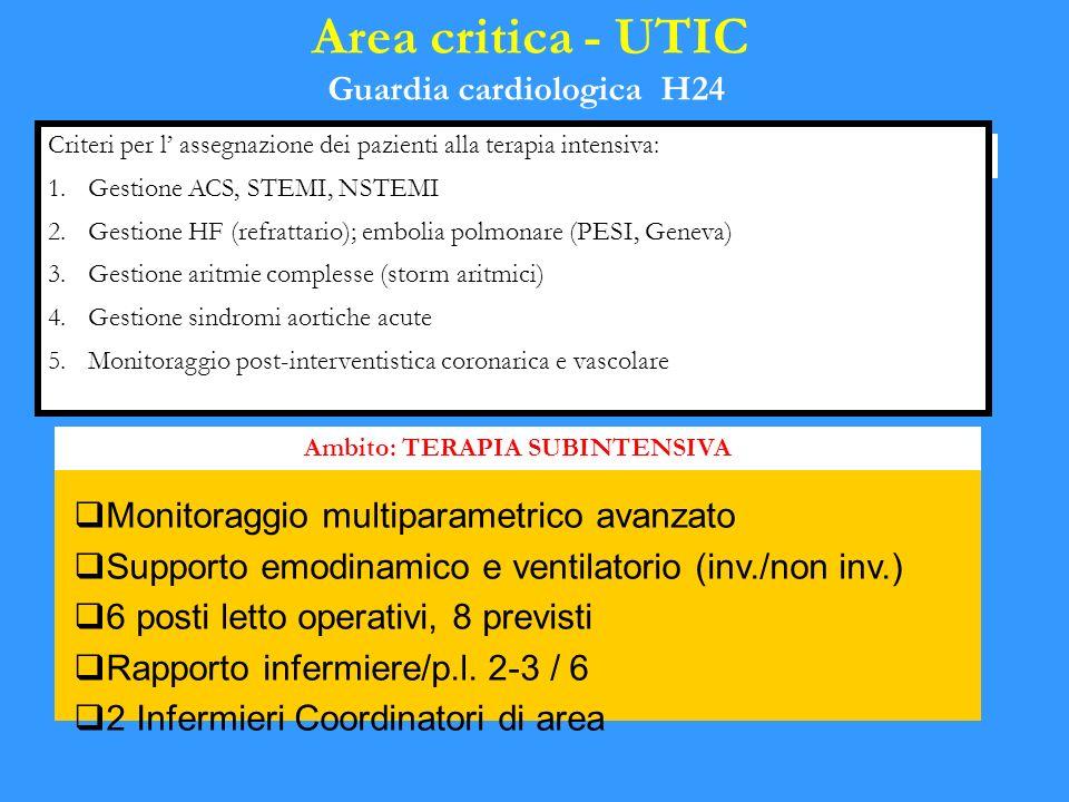 Monitoraggio multiparametrico avanzato Supporto emodinamico e ventilatorio (inv./non inv.) 6 posti letto operativi, 8 previsti Rapporto infermiere/p.l.