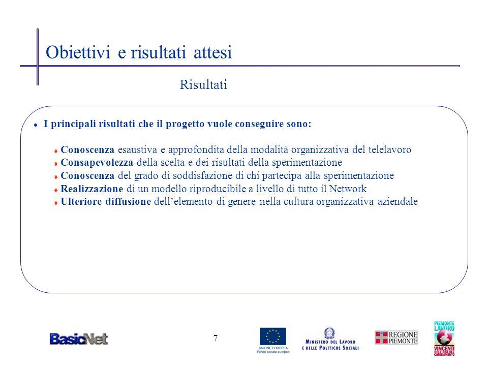 8 Come verrà attuato il telelavoro nel BasicNetwork l Le principali attività previste di attivazione sono: t Raccolta, per mezzo di uno specifico questionario, sia del grado di soddisfazione dei dipendenti che delle adesioni alliniziativa.