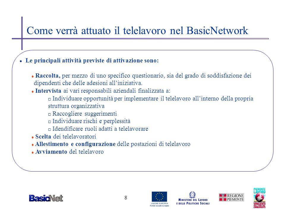 8 Come verrà attuato il telelavoro nel BasicNetwork l Le principali attività previste di attivazione sono: t Raccolta, per mezzo di uno specifico ques