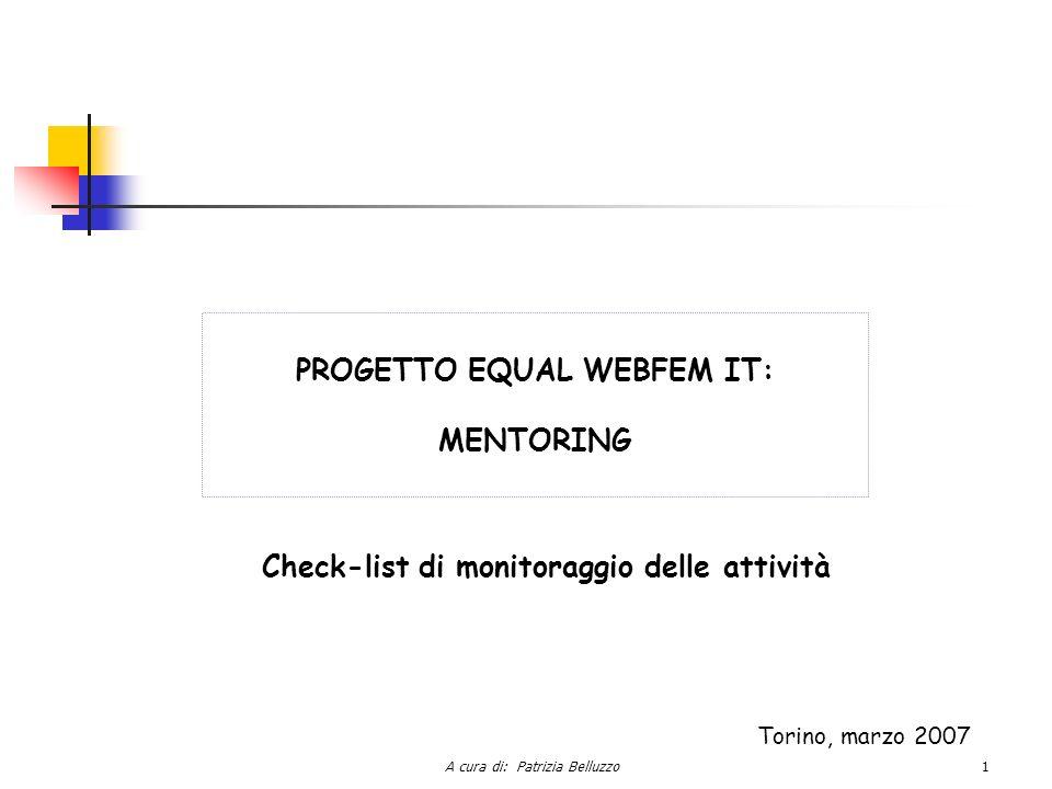 A cura di: Patrizia Belluzzo1 PROGETTO EQUAL WEBFEM IT: MENTORING Check-list di monitoraggio delle attività Torino, marzo 2007