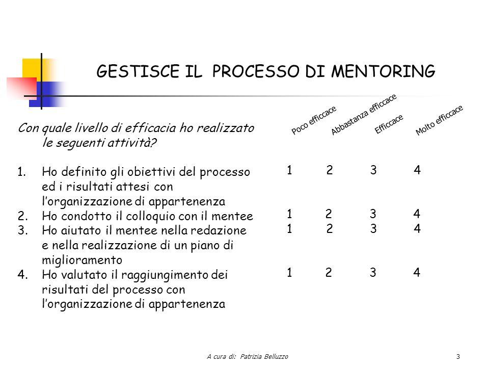 A cura di: Patrizia Belluzzo3 GESTISCE IL PROCESSO DI MENTORING Con quale livello di efficacia ho realizzato le seguenti attività.