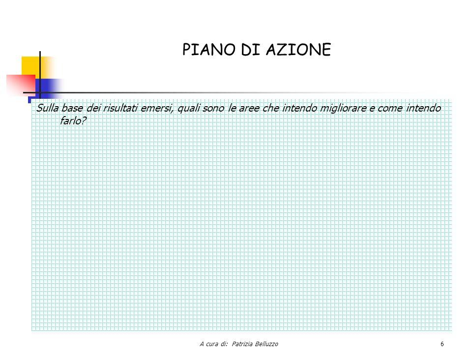 A cura di: Patrizia Belluzzo6 PIANO DI AZIONE Sulla base dei risultati emersi, quali sono le aree che intendo migliorare e come intendo farlo?