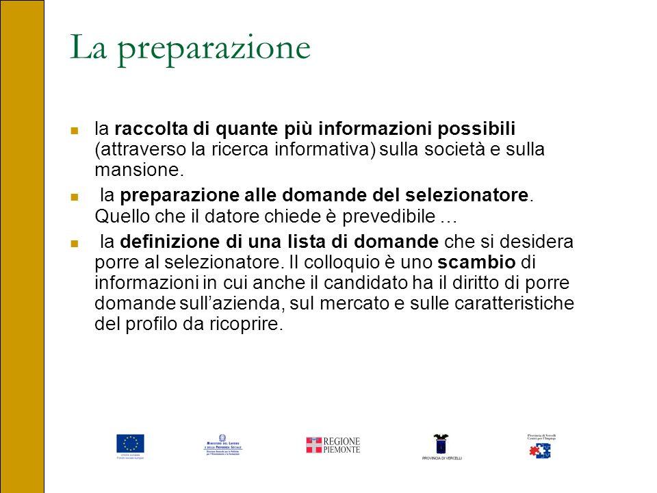 La preparazione la raccolta di quante più informazioni possibili (attraverso la ricerca informativa) sulla società e sulla mansione. la preparazione a