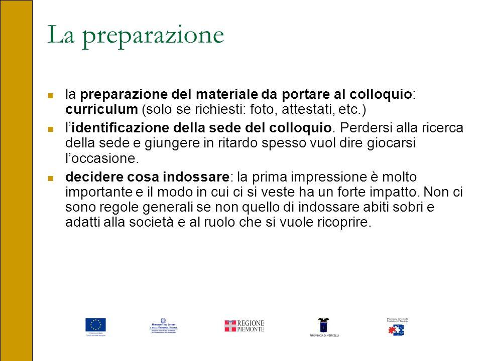 La preparazione la preparazione del materiale da portare al colloquio: curriculum (solo se richiesti: foto, attestati, etc.) lidentificazione della se