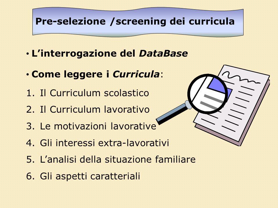 Pre-selezione /screening dei curricula Linterrogazione del DataBase Come leggere i Curricula: 1.Il Curriculum scolastico 2.Il Curriculum lavorativo 3.