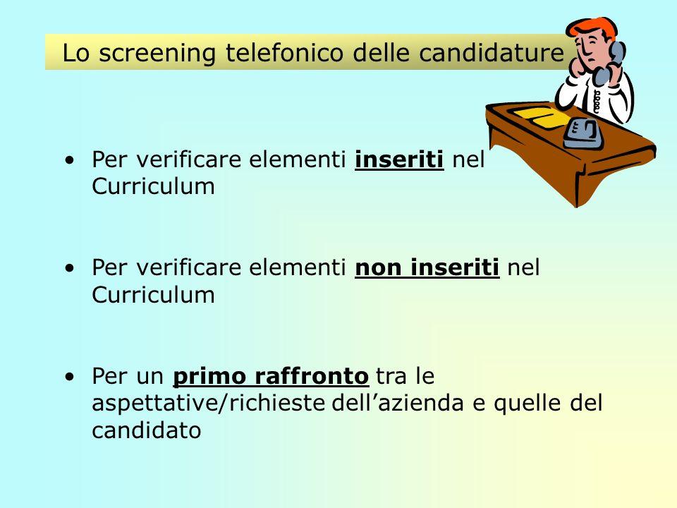 Lo screening telefonico delle candidature Per verificare elementi inseriti nel Curriculum Per verificare elementi non inseriti nel Curriculum Per un primo raffronto tra le aspettative/richieste dellazienda e quelle del candidato