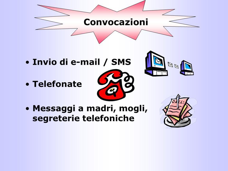Convocazioni Invio di e-mail / SMS Telefonate Messaggi a madri, mogli, segreterie telefoniche