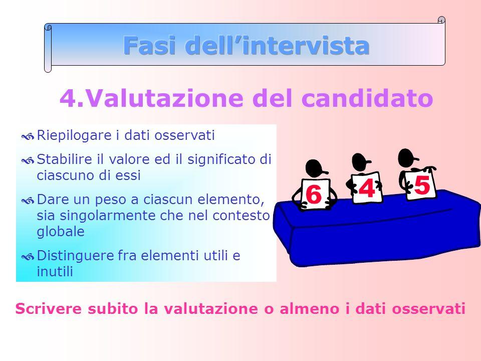 4.Valutazione del candidato Riepilogare i dati osservati Stabilire il valore ed il significato di ciascuno di essi Dare un peso a ciascun elemento, si