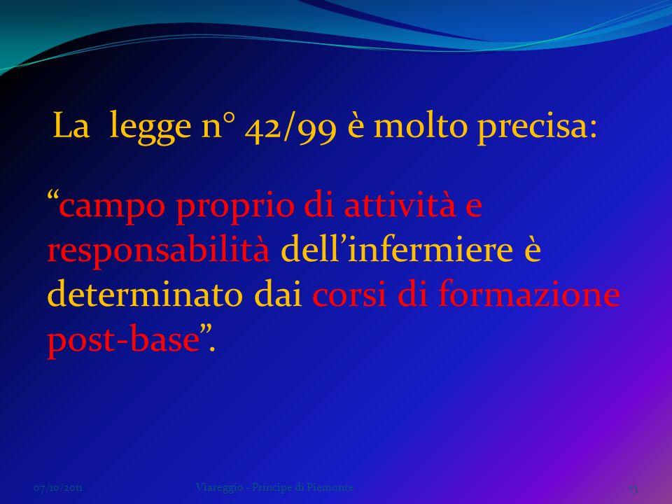 07/10/2011Viareggio - Principe di Piemonte15 campo proprio di attività e responsabilità dellinfermiere è determinato dai corsi di formazione post-base