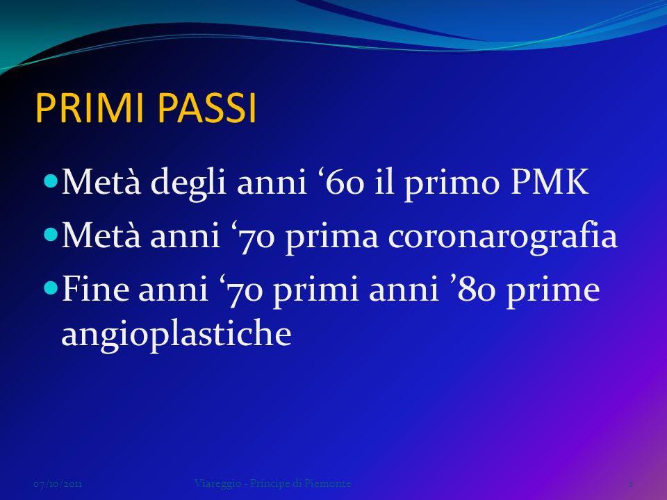 PRIMI PASSI Metà degli anni 60 il primo PMK Metà anni 70 prima coronarografia Fine anni 70 primi anni 80 prime angioplastiche 07/10/2011Viareggio - Pr
