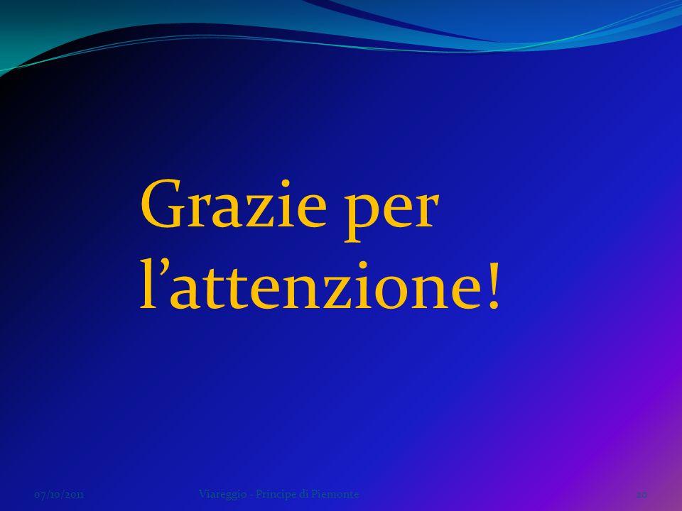 07/10/2011Viareggio - Principe di Piemonte20 Grazie per lattenzione!