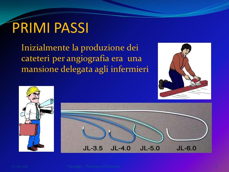 PRIMI PASSI 07/10/2011Viareggio - Principe di Piemonte3 Inizialmente la produzione dei cateteri per angiografia era una mansione delegata agli infermi