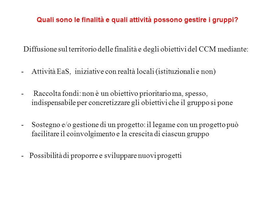 Quali sono le finalità e quali attività possono gestire i gruppi? Diffusione sul territorio delle finalità e degli obiettivi del CCM mediante: -Attivi