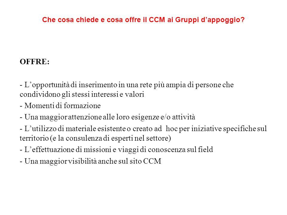 CHIEDE: - Che si identifichino con il CCM e i valori perseguiti anche nei propri progetti - Che accettino di essere inseriti nella programmazione delle attività CCM (di concerto con il Resp.