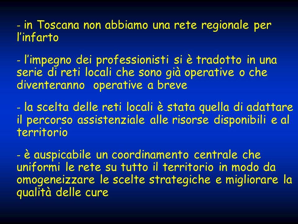 - in Toscana non abbiamo una rete regionale per linfarto - limpegno dei professionisti si è tradotto in una serie di reti locali che sono già operativ