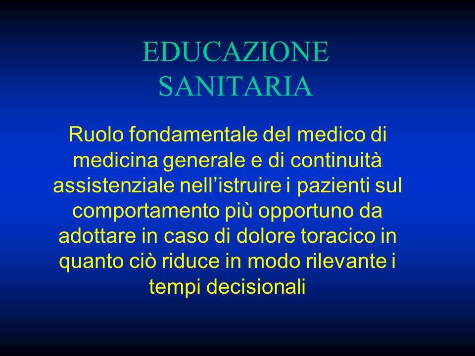 EDUCAZIONE SANITARIA Ruolo fondamentale del medico di medicina generale e di continuità assistenziale nellistruire i pazienti sul comportamento più op