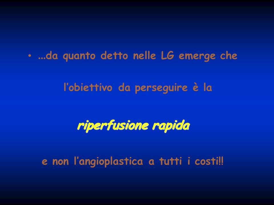 ... da quanto detto nelle LG emerge che lobiettivo da perseguire è la riperfusione rapida e non langioplastica a tutti i costi!!