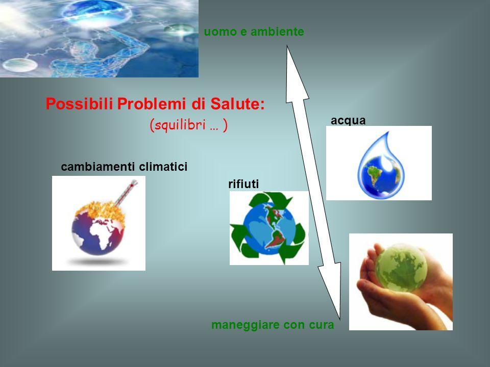 maneggiare con cura uomo e ambiente Possibili Problemi di Salute: cambiamenti climatici acqua rifiuti (squilibri … )
