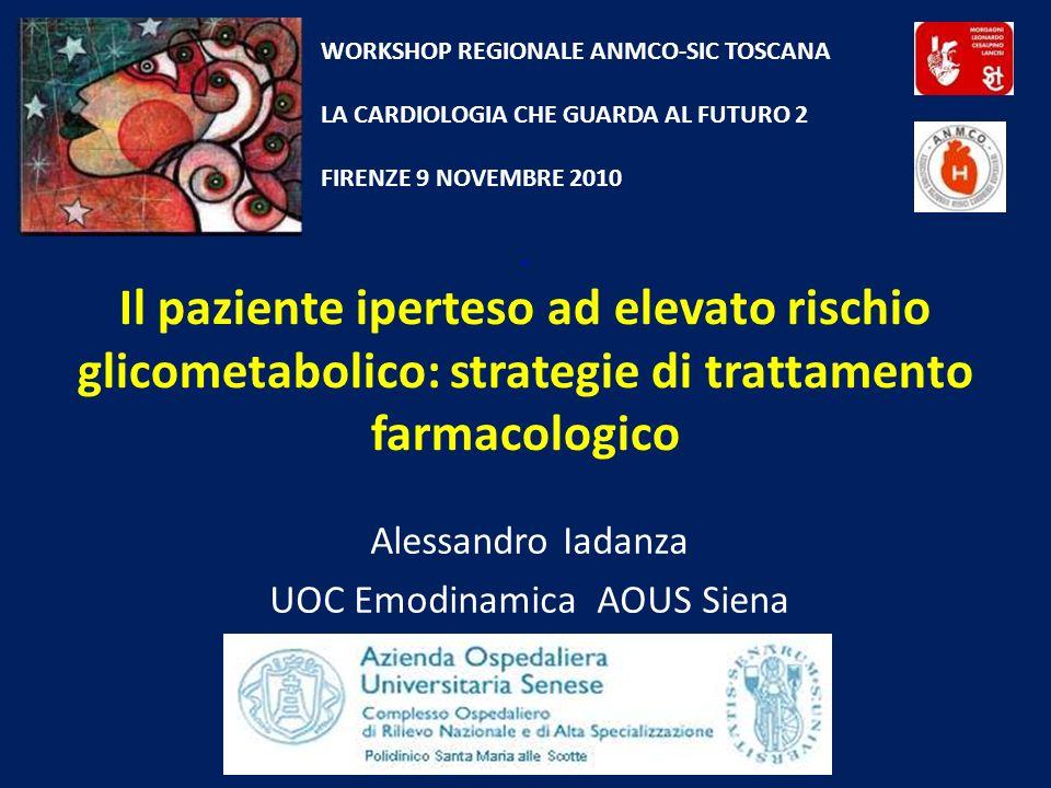 Il paziente iperteso ad elevato rischio glicometabolico: strategie di trattamento farmacologico Alessandro Iadanza UOC Emodinamica AOUS Siena WORKSHOP