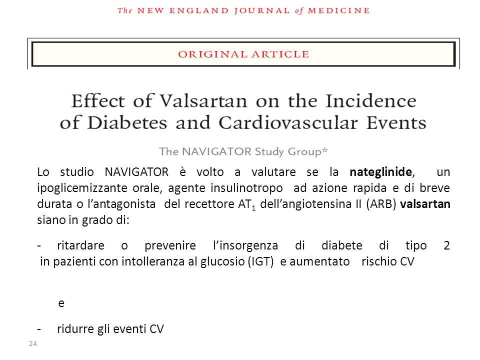 24 Lo studio NAVIGATOR è volto a valutare se la nateglinide, un ipoglicemizzante orale, agente insulinotropo ad azione rapida e di breve durata o lant
