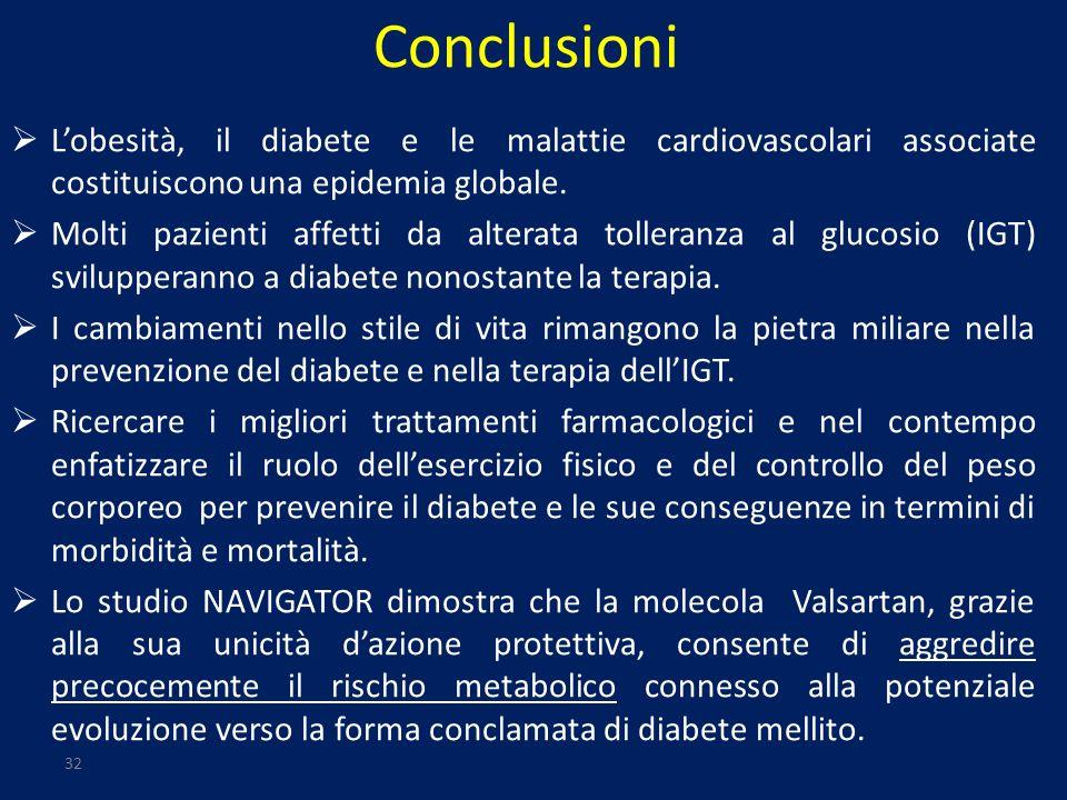 32 Conclusioni Lobesità, il diabete e le malattie cardiovascolari associate costituiscono una epidemia globale. Molti pazienti affetti da alterata tol