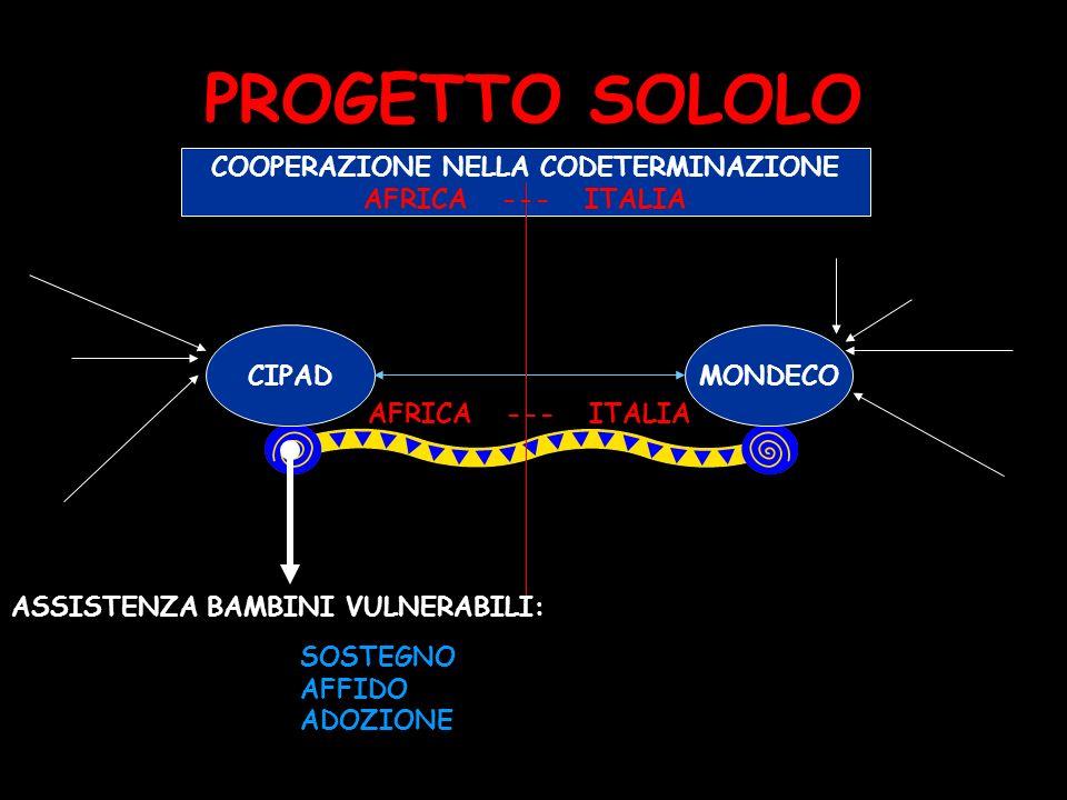 PROGETTO SOLOLO CIPADMONDECO COOPERAZIONE NELLA CODETERMINAZIONE AFRICA --- ITALIA ASSISTENZA BAMBINI VULNERABILI: SOSTEGNO AFFIDO ADOZIONE