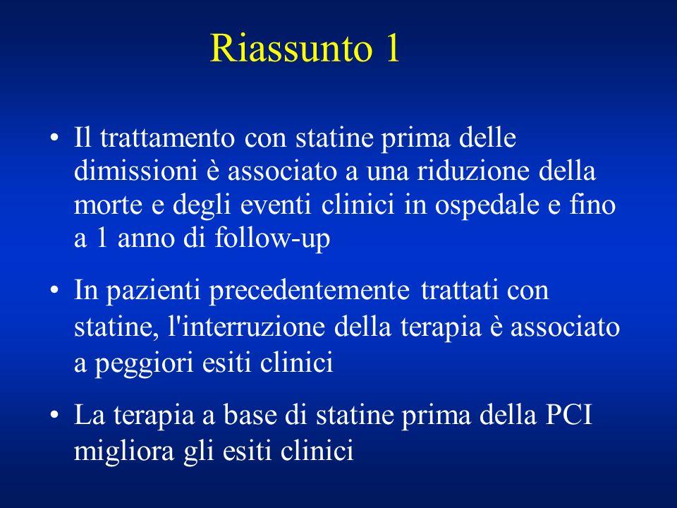 Riassunto 1 Il trattamento con statine prima delle dimissioni è associato a una riduzione della morte e degli eventi clinici in ospedale e fino a 1 an