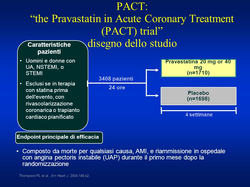 PACT: the Pravastatin in Acute Coronary Treatment (PACT) trial disegno dello studio 3408 pazienti 24 ore Uomini e donne con UA, NSTEMI, o STEMI Esclus