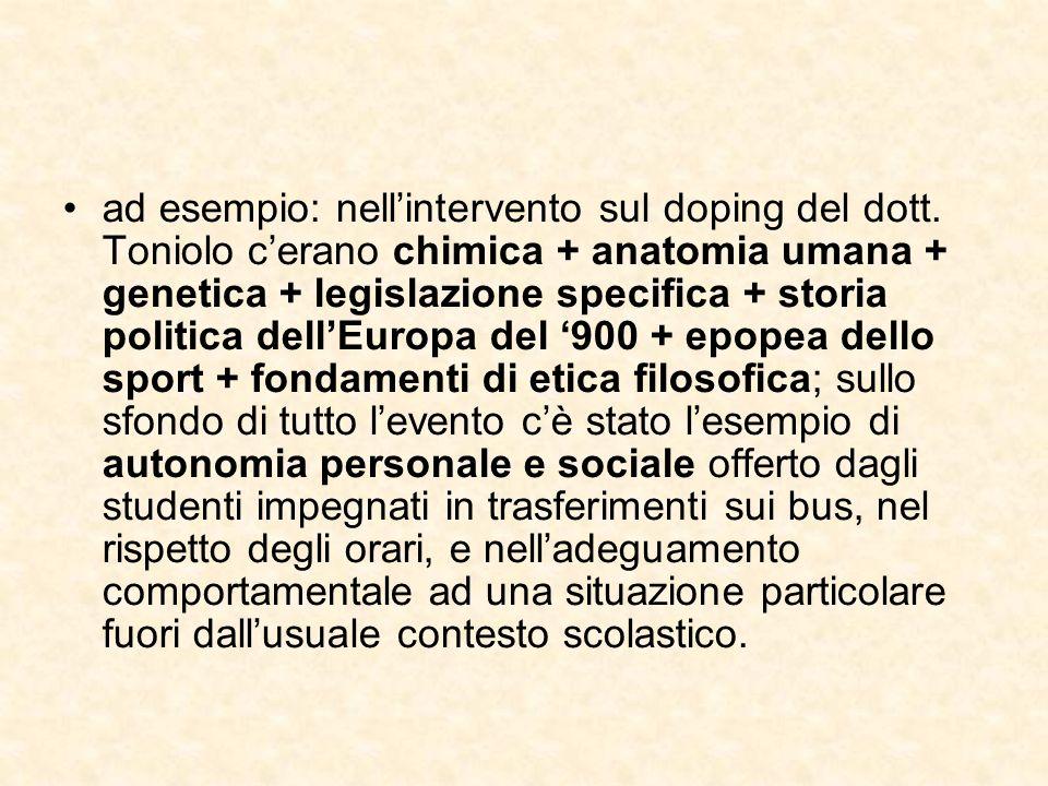 ad esempio: nellintervento sul doping del dott.