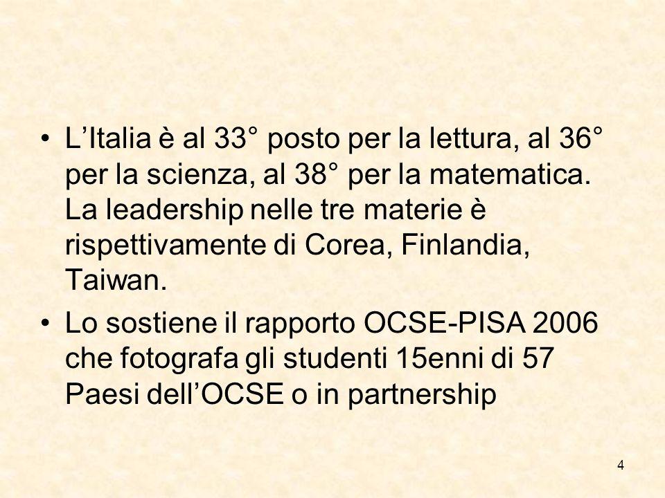 4 LItalia è al 33° posto per la lettura, al 36° per la scienza, al 38° per la matematica.