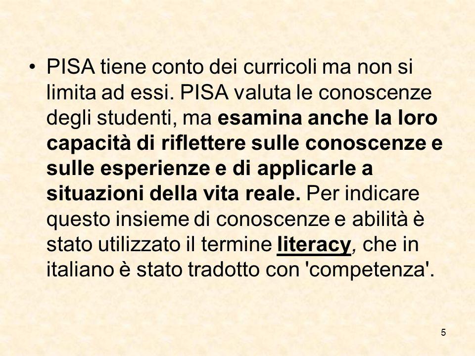 5 PISA tiene conto dei curricoli ma non si limita ad essi.