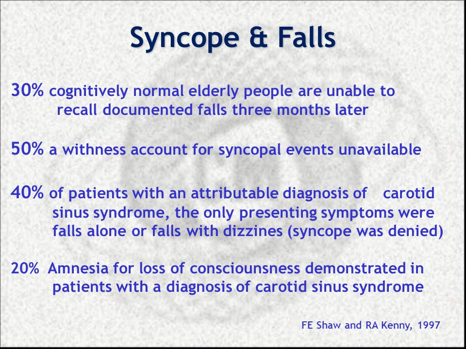 Syncope & Falls 30% cognitively normal elderly people are unable to recall documented falls three months later 50% a withness account for syncopal eve